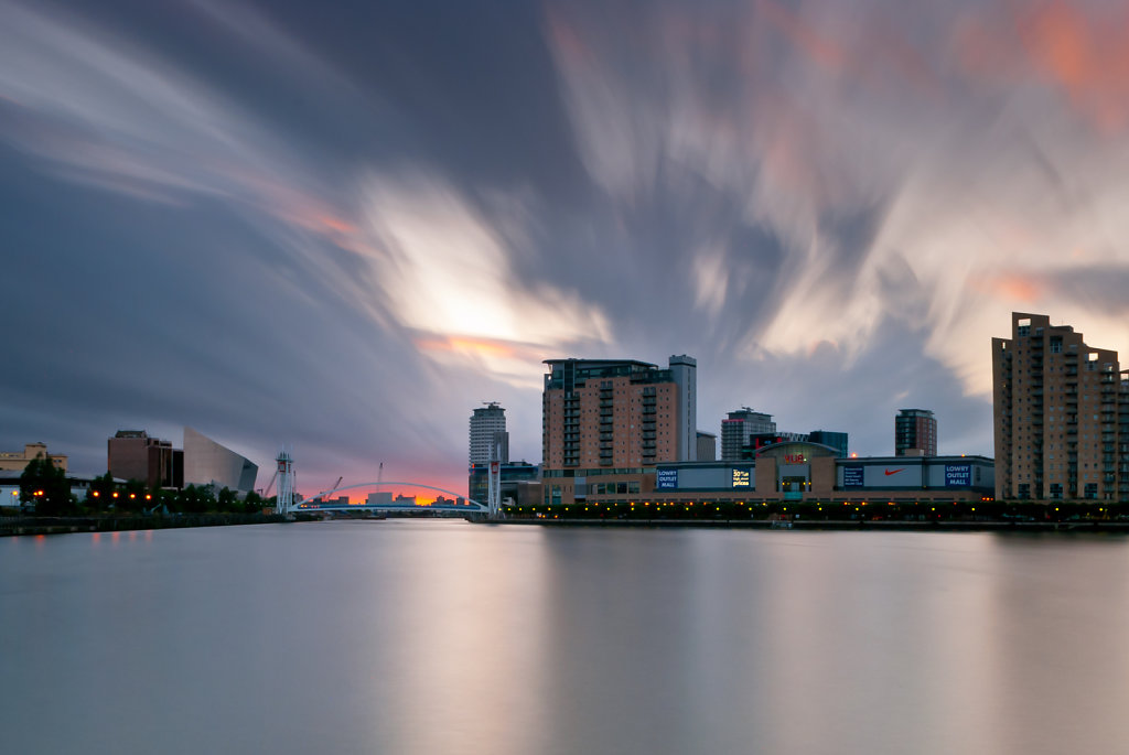Salford Quays slow shutter sunset